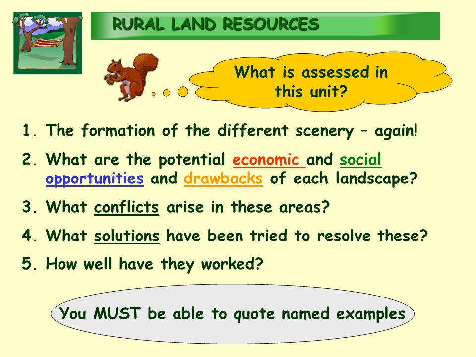 RURALLAND RESOURCES RURAL LAND RESOURCES What is assessed in this unit.