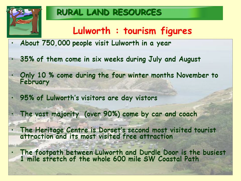 RURALLAND RESOURCES RURAL LAND RESOURCES Lulworth : tourism figures About 750,000 people visit Lulworth in a year 35% of them come in six weeks during July and August Only 10 % come during the four winter months November to February 95% of Lulworth's visitors are day vistors The vast majority (over 90%) come by car and coach The Heritage Centre is Dorset's second most visited tourist attraction and its most visited free attraction The footpath between Lulworth and Durdle Door is the busiest 1 mile stretch of the whole 600 mile SW Coastal Path