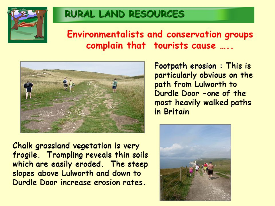 RURALLAND RESOURCES RURAL LAND RESOURCES Environmentalists and conservation groups complain that tourists cause …..