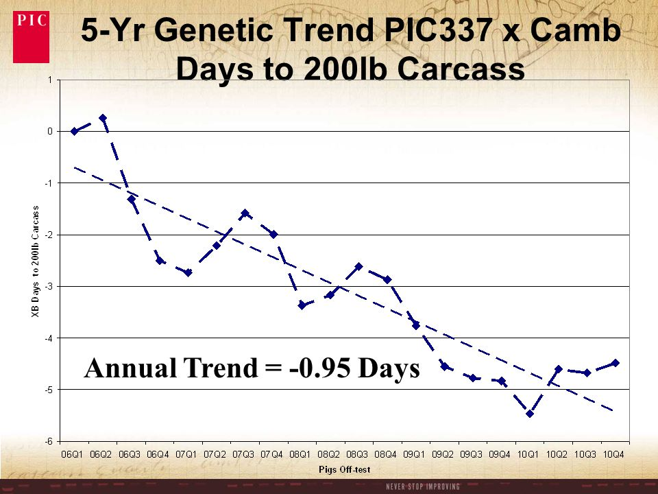 5-Yr Genetic Trend PIC337 x Camb Days to 200lb Carcass Annual Trend = -0.95 Days