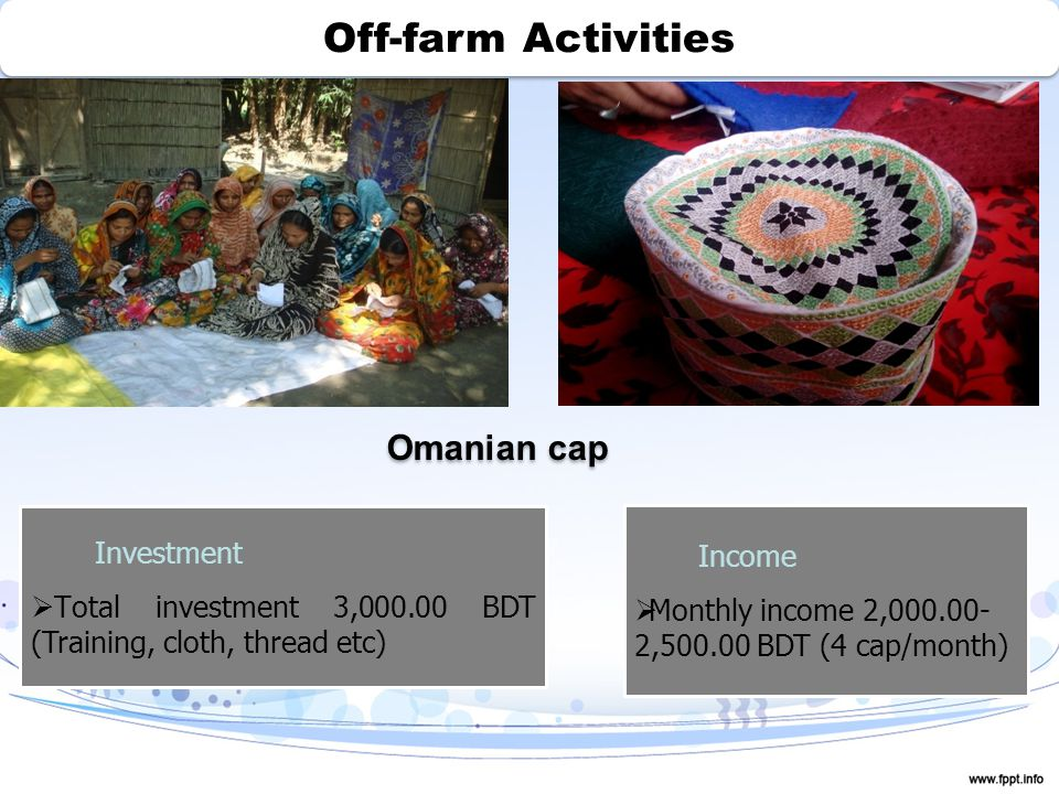 Off-farm Activities Omanian cap Investment  Total investment 3,000.00 BDT (Training, cloth, thread etc) Income  Monthly income 2,000.00- 2,500.00 BDT (4 cap/month)