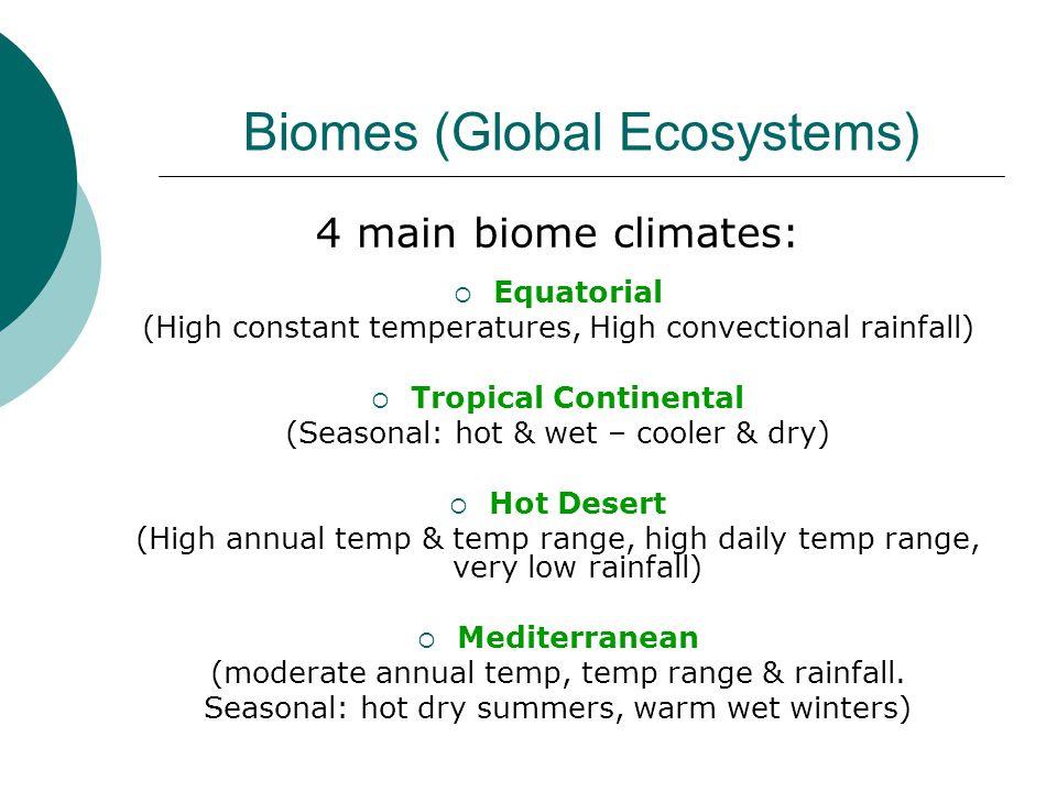 Biomes (Global Ecosystems) 4 main biome climates:  Equatorial (High constant temperatures, High convectional rainfall)  Tropical Continental (Seasonal: hot & wet – cooler & dry)  Hot Desert (High annual temp & temp range, high daily temp range, very low rainfall)  Mediterranean (moderate annual temp, temp range & rainfall.