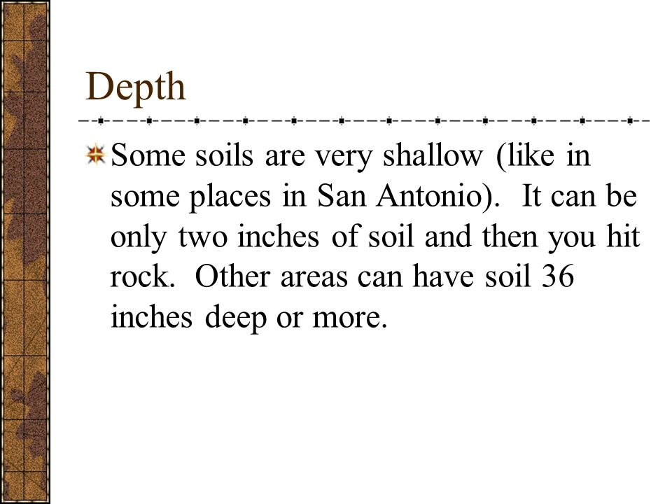 Color Dark soil is rich with lots of organic matter.