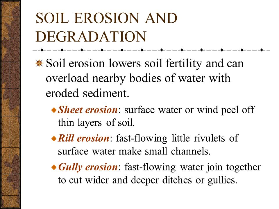 SOIL EROSION AND DEGRADATION Soil erosion lowers soil fertility and can overload nearby bodies of water with eroded sediment.