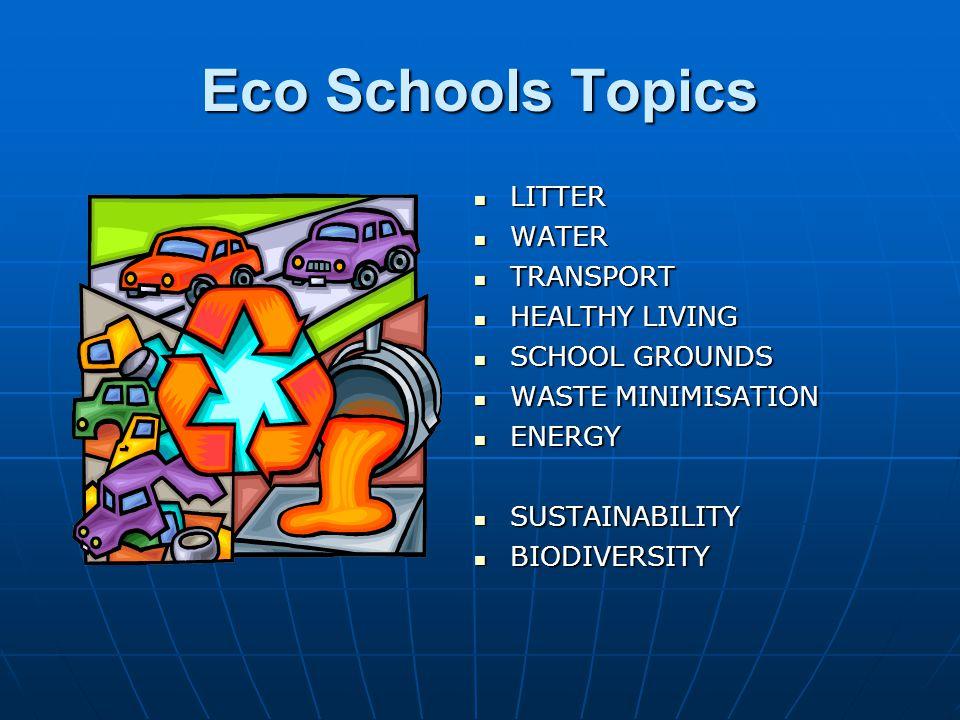 Eco Schools Topics LITTER LITTER WATER WATER TRANSPORT TRANSPORT HEALTHY LIVING HEALTHY LIVING SCHOOL GROUNDS SCHOOL GROUNDS WASTE MINIMISATION WASTE MINIMISATION ENERGY ENERGY SUSTAINABILITY SUSTAINABILITY BIODIVERSITY BIODIVERSITY