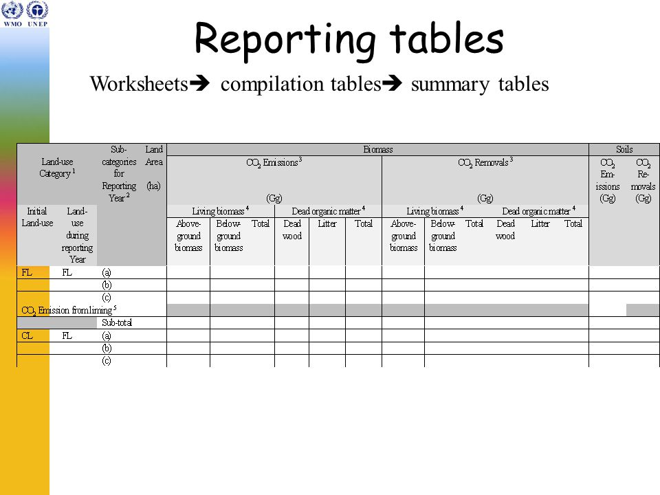 Reporting tables Worksheets  compilation tables  summary tables