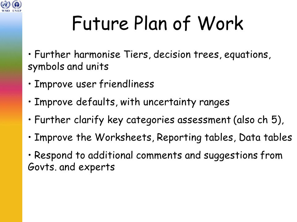 Future Plan of Work Further harmonise Tiers, decision trees, equations, symbols and units Improve user friendliness Improve defaults, with uncertainty ranges Further clarify key categories assessment (also ch 5), Improve the Worksheets, Reporting tables, Data tables Respond to additional comments and suggestions from Govts.