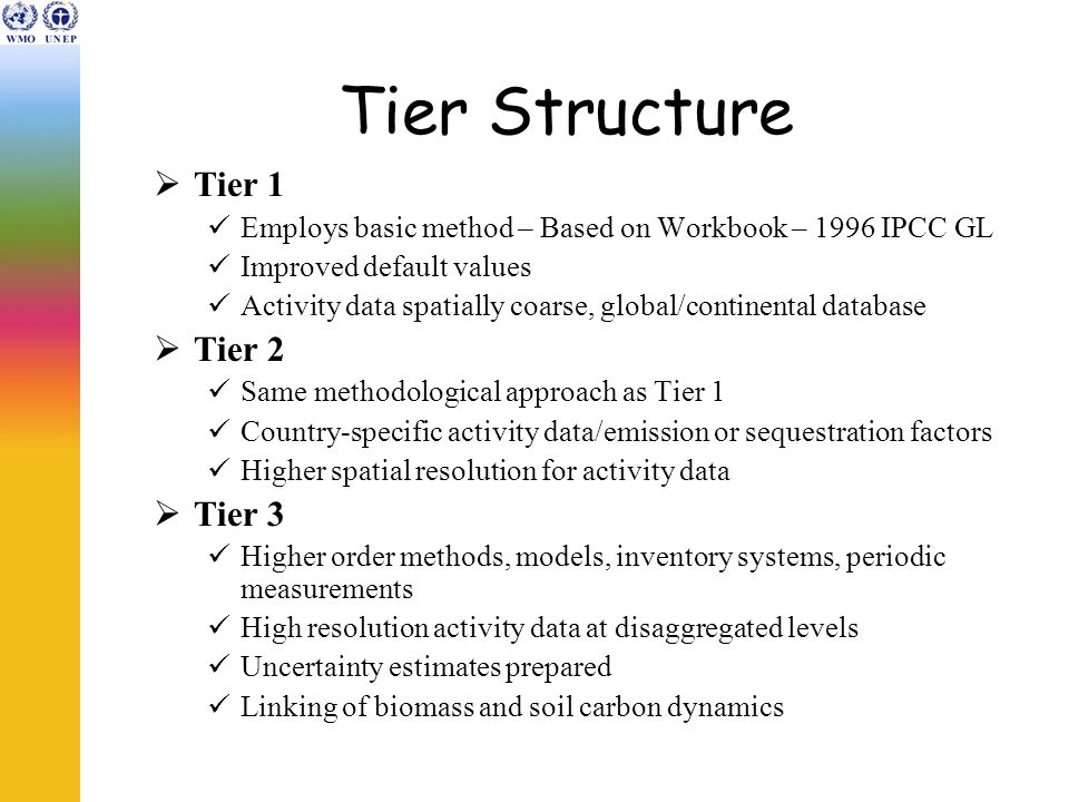 Tier Structure  Tier 1 Employs basic method – Based on Workbook – 1996 IPCC GL Improved default values Activity data spatially coarse, global/continental database  Tier 2 Same methodological approach as Tier 1 Country-specific activity data/emission or sequestration factors Higher spatial resolution for activity data  Tier 3 Higher order methods, models, inventory systems, periodic measurements High resolution activity data at disaggregated levels Uncertainty estimates prepared Linking of biomass and soil carbon dynamics