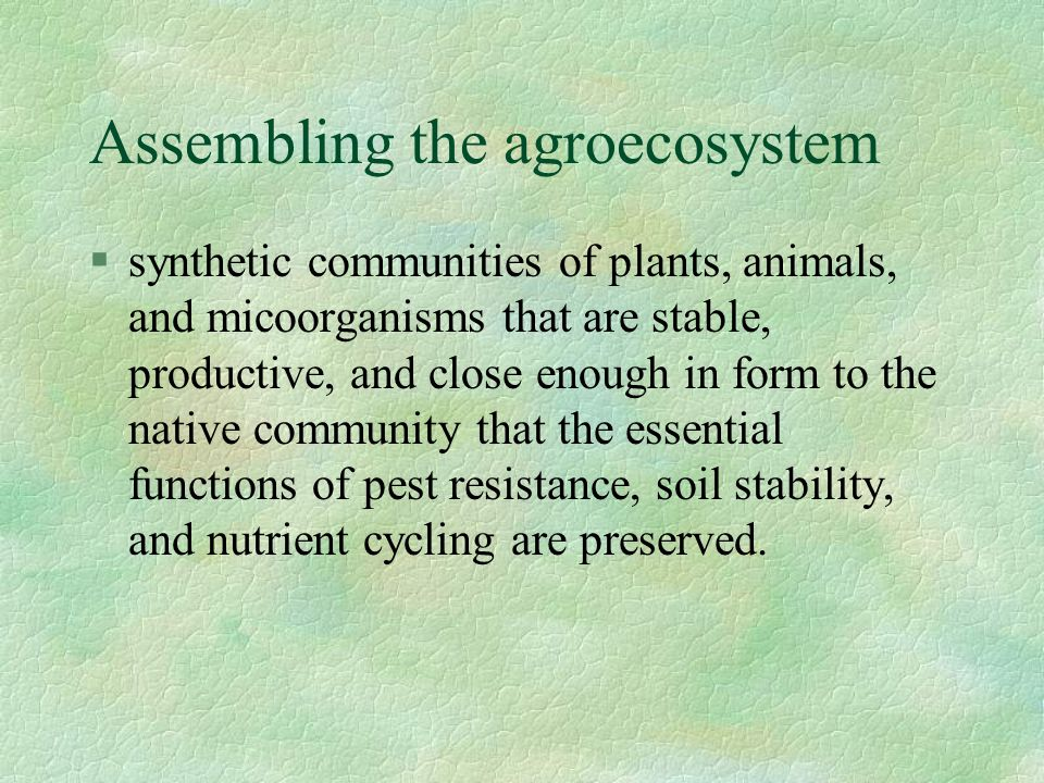 Assembling the agroecosystem  synthetic communities of plants, animals, and micoorganisms that are stable, productive, and close enough in form to th