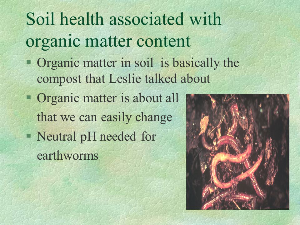 Soil health associated with organic matter content §Organic matter in soil is basically the compost that Leslie talked about §Organic matter is about