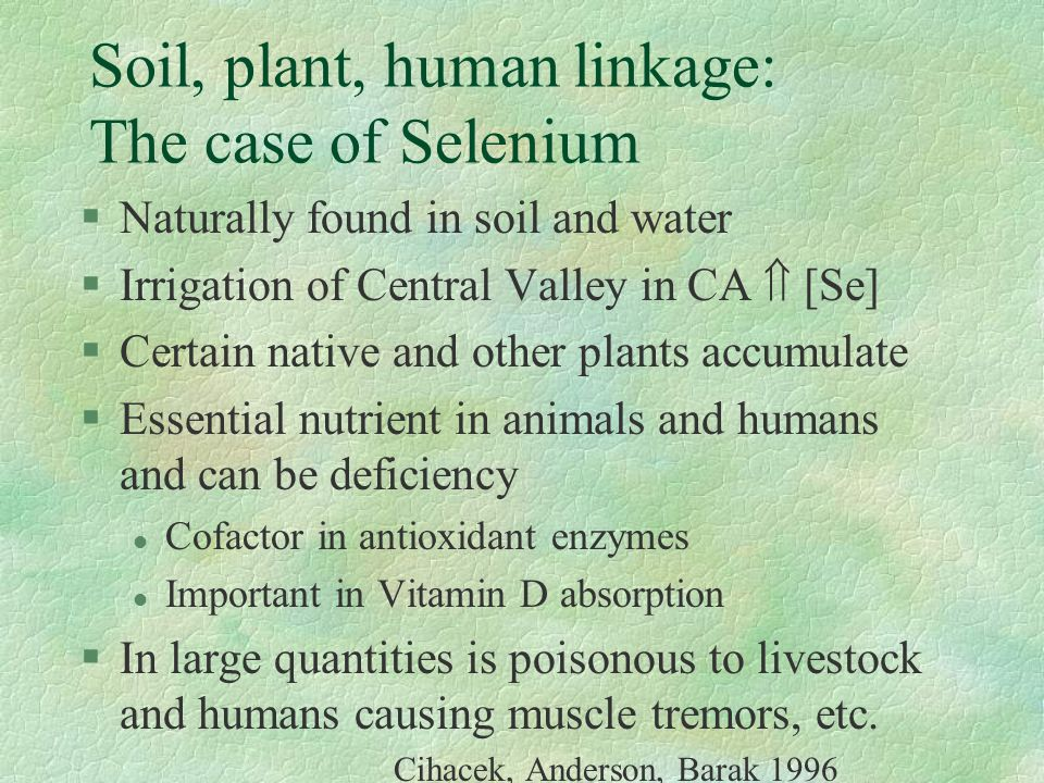 Soil, plant, human linkage: The case of Selenium §Naturally found in soil and water §Irrigation of Central Valley in CA  [Se] §Certain native and oth