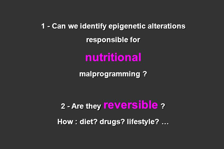 1 - Can we identify epigenetic alterations responsible for nutritional malprogramming ? 2 - Are they ? 2 - Are they reversible ? How : diet? drugs? li