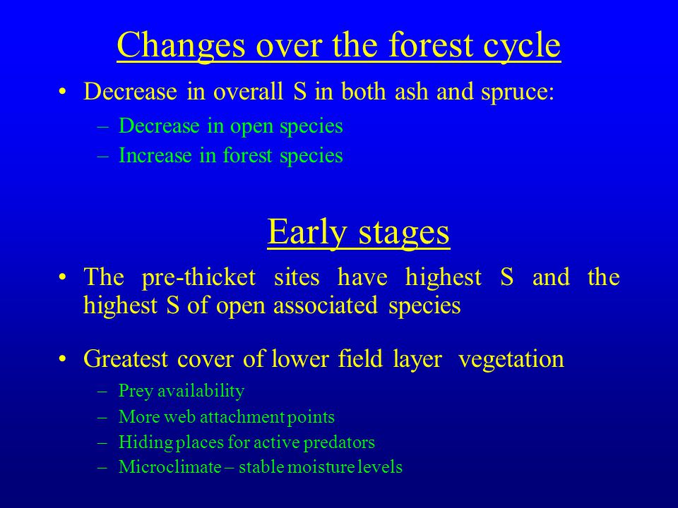 Changes over the forest cycle Decrease in overall S in both ash and spruce: –Decrease in open species –Increase in forest species Early stages The pre-thicket sites have highest S and the highest S of open associated species Greatest cover of lower field layer vegetation –Prey availability –More web attachment points –Hiding places for active predators –Microclimate – stable moisture levels