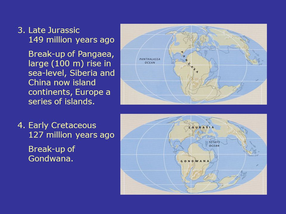 3.Late Jurassic 149 million years ago Break-up of Pangaea, large (100 m) rise in sea-level, Siberia and China now island continents, Europe a series o