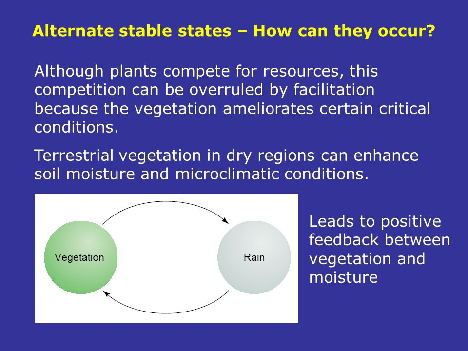 Alternate stable states – How can they occur? Although plants compete for resources, this competition can be overruled by facilitation because the veg