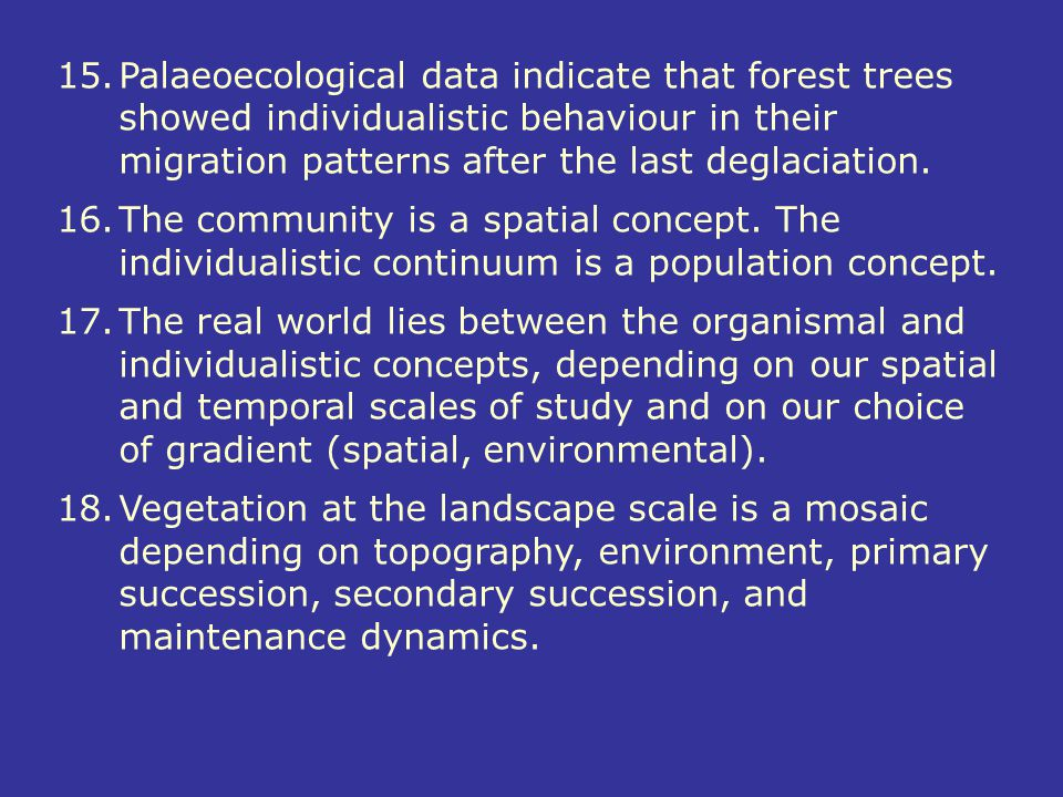 15.Palaeoecological data indicate that forest trees showed individualistic behaviour in their migration patterns after the last deglaciation. 16.The c