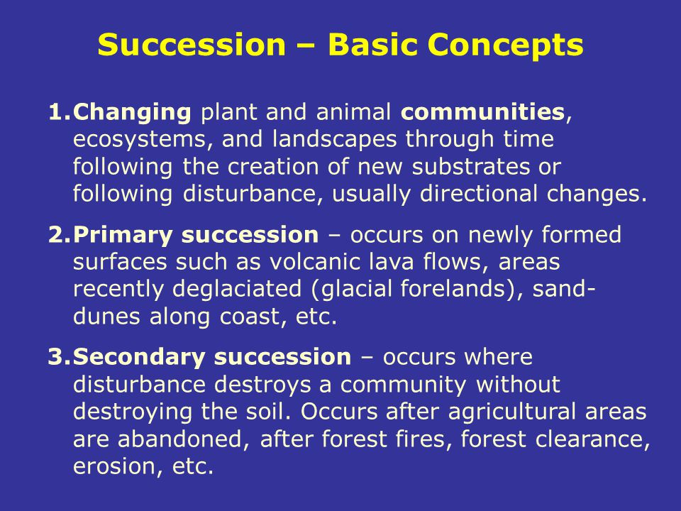 Succession – Basic Concepts 1.Changing plant and animal communities, ecosystems, and landscapes through time following the creation of new substrates
