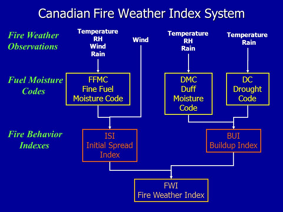 Canadian Fire Weather Index System Temperature RH Wind Rain Temperature RH Rain Wind Temperature Rain Fire Weather Observations DC Drought Code DMC Duff Moisture Code ISI Initial Spread Index BUI Buildup Index FWI Fire Weather Index FFMC Fine Fuel Moisture Code Fire Behavior Indexes Fuel Moisture Codes