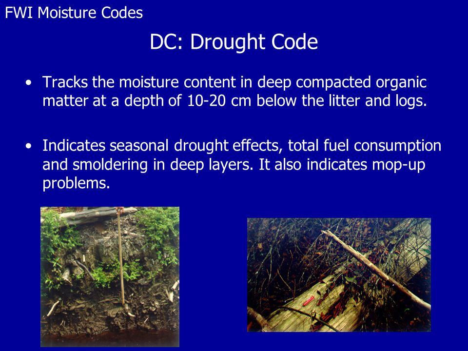 DC: Drought Code Tracks the moisture content in deep compacted organic matter at a depth of 10-20 cm below the litter and logs.