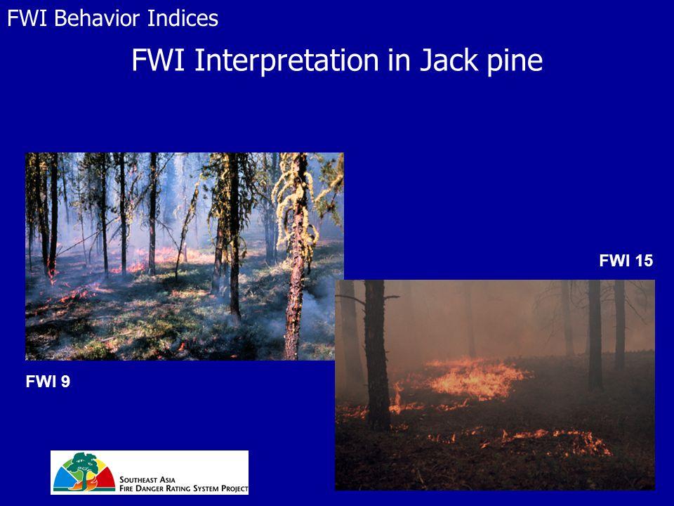 FWI Interpretation in Jack pine FWI Behavior Indices FWI 9 FWI 15