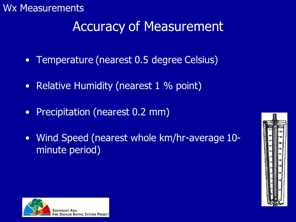 Accuracy of Measurement Temperature (nearest 0.5 degree Celsius) Relative Humidity (nearest 1 % point) Precipitation (nearest 0.2 mm) Wind Speed (nearest whole km/hr-average 10- minute period) Wx Measurements