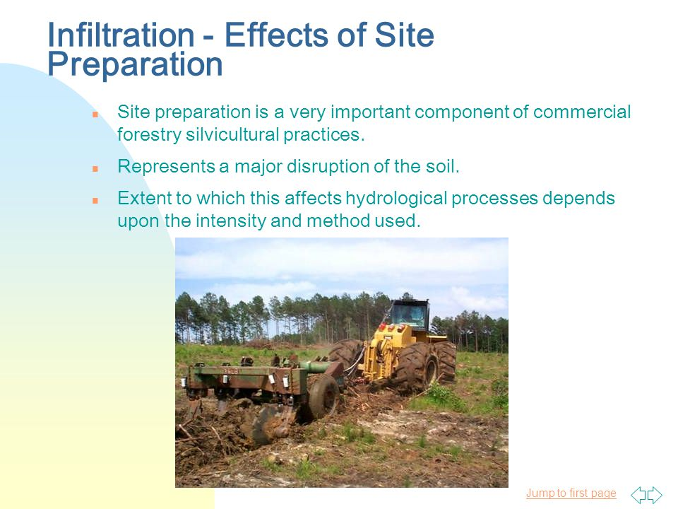 Jump to first page Infiltration - Effects of Site Preparation n Site preparation is a very important component of commercial forestry silvicultural practices.