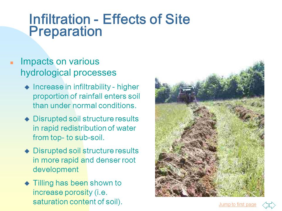 Jump to first page Infiltration - Effects of Site Preparation n Impacts on various hydrological processes u Increase in infiltrability - higher proportion of rainfall enters soil than under normal conditions.