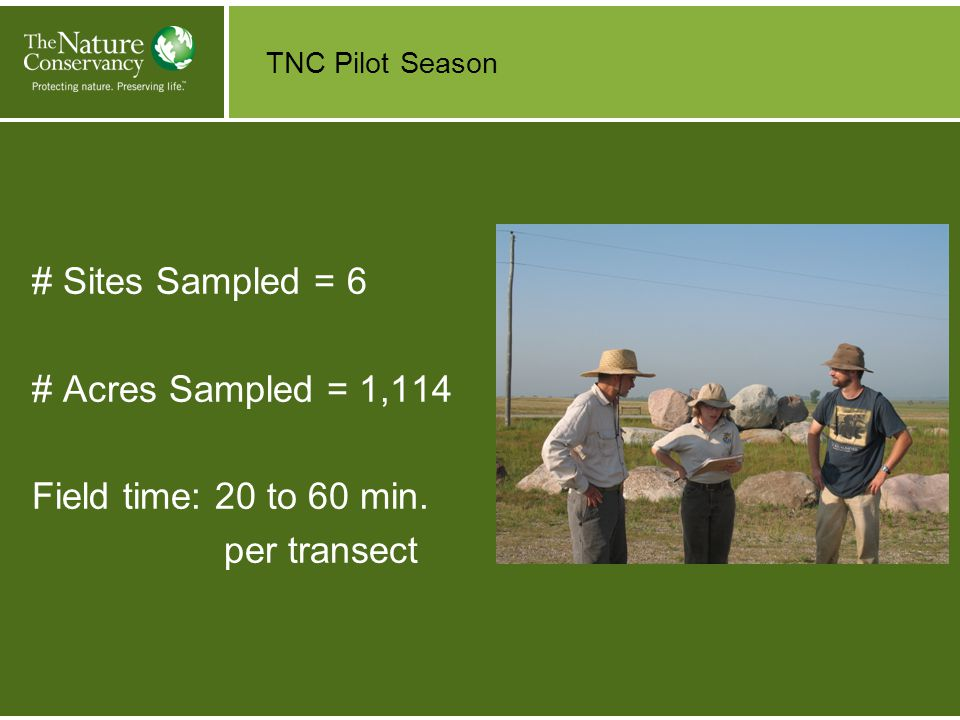 TNC Pilot Season # Sites Sampled = 6 # Acres Sampled = 1,114 Field time: 20 to 60 min. per transect