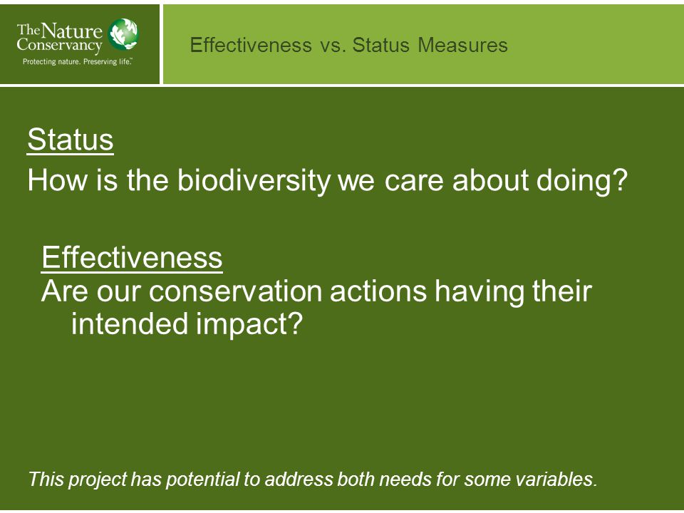 Status How is the biodiversity we care about doing.