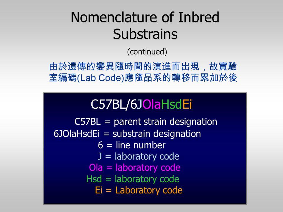 由於遺傳的變異隨時間的演進而出現,故實驗 室編碼 (Lab Code) 應隨品系的轉移而累加於後 C57BL = parent strain designation 6JOlaHsdEi = substrain designation 6 = line number J = laboratory c