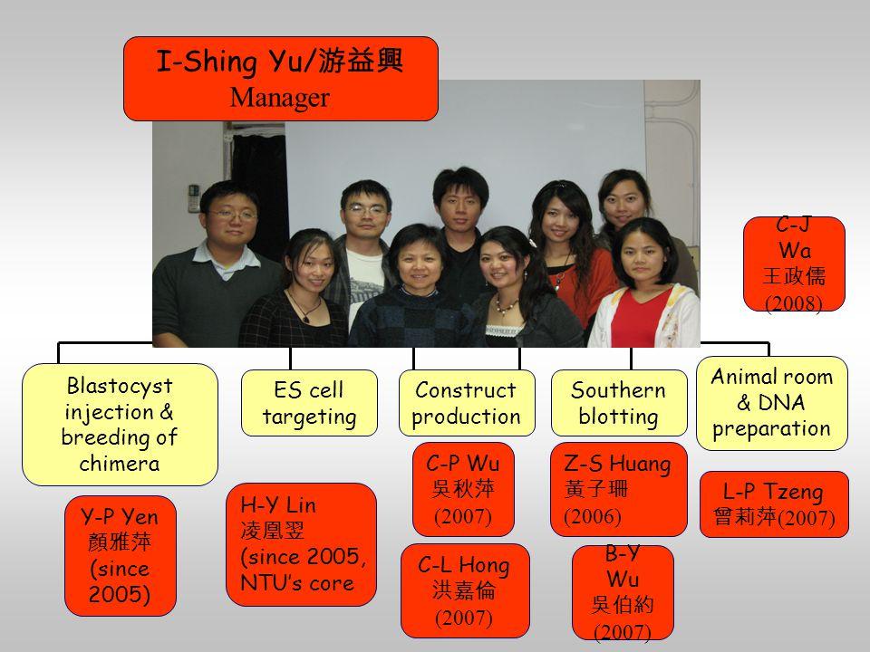 L-P Tzeng 曾莉萍 (2007) C-L Hong 洪嘉倫 (2007) Z-S Huang 黃子珊 (2006) H-Y Lin 凌凰翌 (since 2005, NTU's core Y-P Yen 顏雅萍 (since 2005) B-Y Wu 吳伯約 (2007) C-P Wu 吳秋