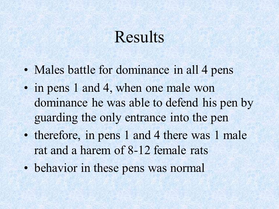 Results (cont.) This left about 60 or so rats crowded into the other 2 pens this is where Calhoun termed the phenomenon which he called the behavioral sink there were 4 extreme pathological behaviors he observed: aggression, submissiveness, sexual deviants, and reproductive abnormalities