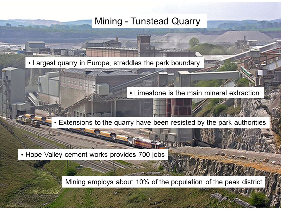 Mining - Tunstead Quarry Largest quarry in Europe, straddles the park boundary Limestone is the main mineral extraction Extensions to the quarry have been resisted by the park authorities Hope Valley cement works provides 700 jobs Mining employs about 10% of the population of the peak district