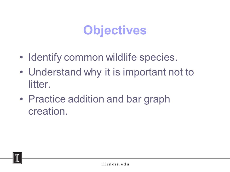 Objectives Identify common wildlife species. Understand why it is important not to litter.