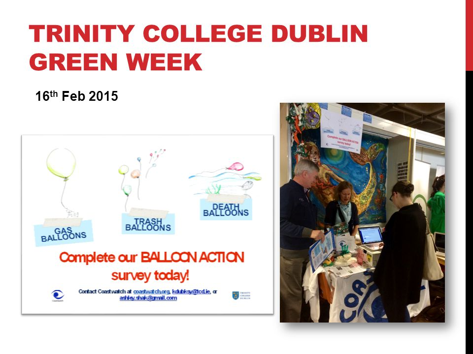 TRINITY COLLEGE DUBLIN GREEN WEEK 16 th Feb 2015