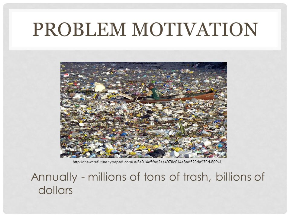 PROBLEM MOTIVATION Annually - millions of tons of trash, billions of dollars http://thewritefuture.typepad.com/.a/6a014e5fad2aa4970c014e8ad520da970d-800wi