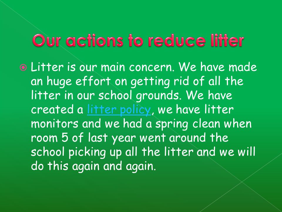  Litter is our main concern.