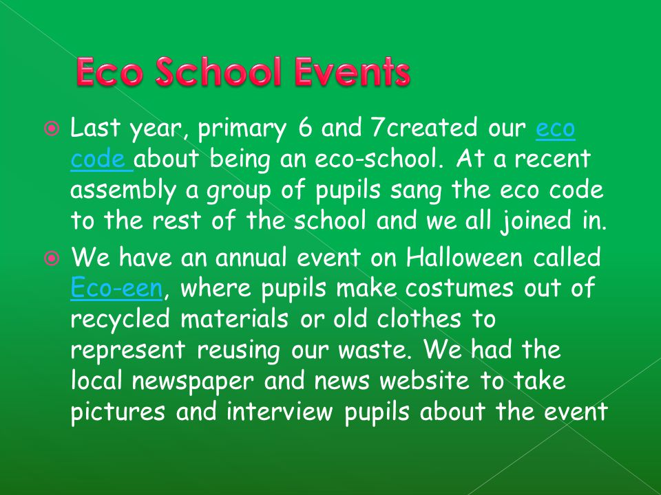  Last year, primary 6 and 7created our eco code about being an eco-school.