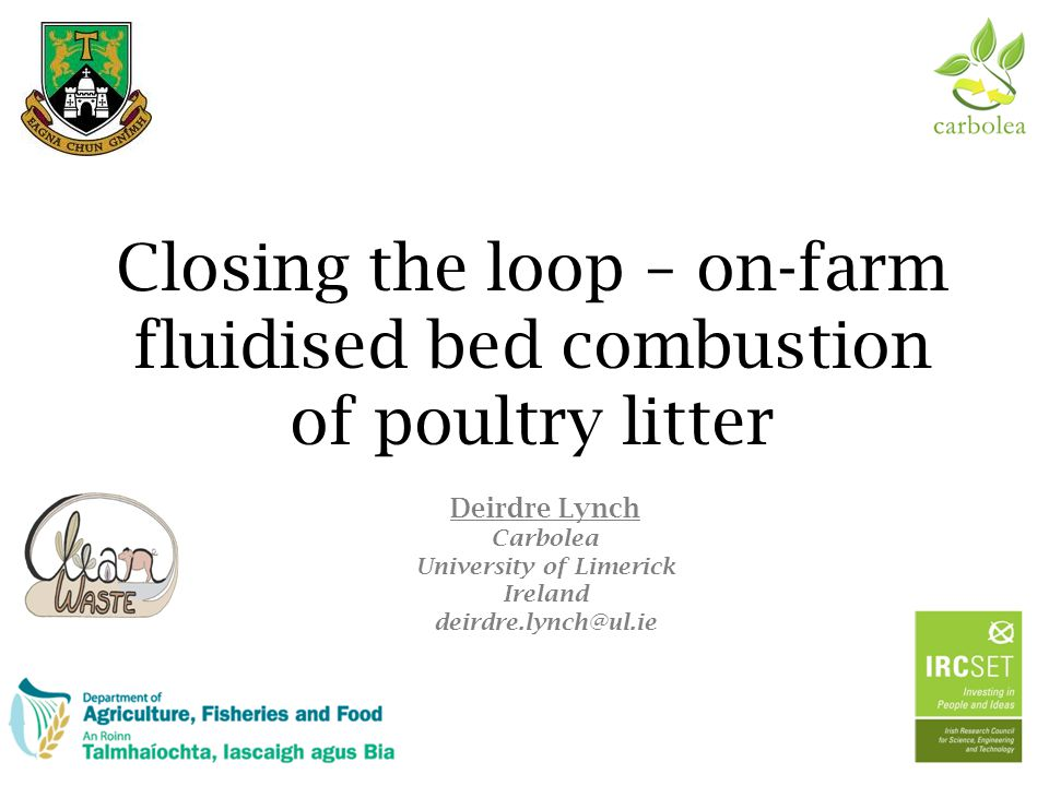 Conclusions Fluidised bed combustion of poultry litter 22  Sustainable, closed loop system
