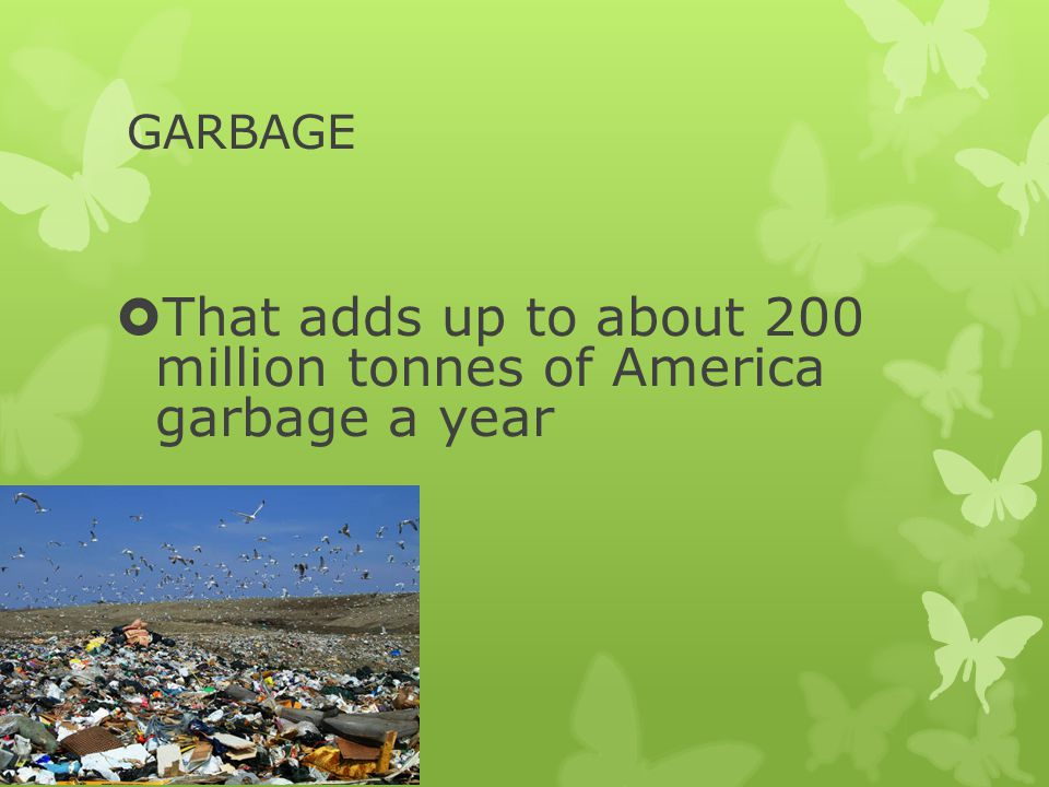 GARBAGE  That adds up to about 200 million tonnes of America garbage a year