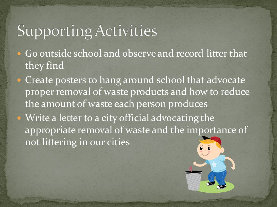 Go outside school and observe and record litter that they find Create posters to hang around school that advocate proper removal of waste products and how to reduce the amount of waste each person produces Write a letter to a city official advocating the appropriate removal of waste and the importance of not littering in our cities