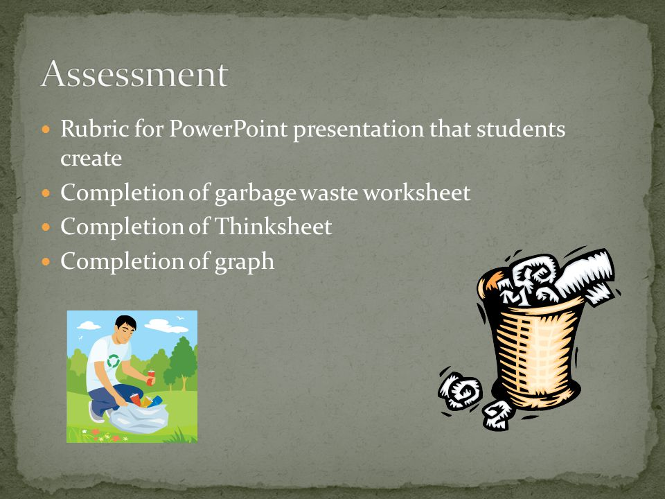 Rubric for PowerPoint presentation that students create Completion of garbage waste worksheet Completion of Thinksheet Completion of graph