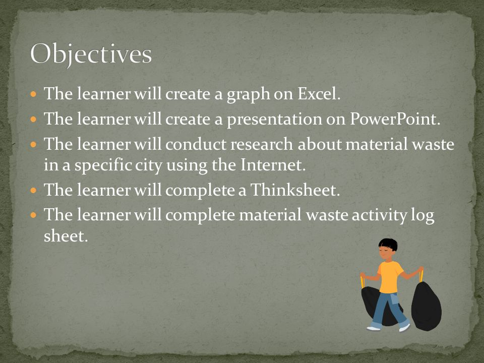 The learner will create a graph on Excel.The learner will create a presentation on PowerPoint.