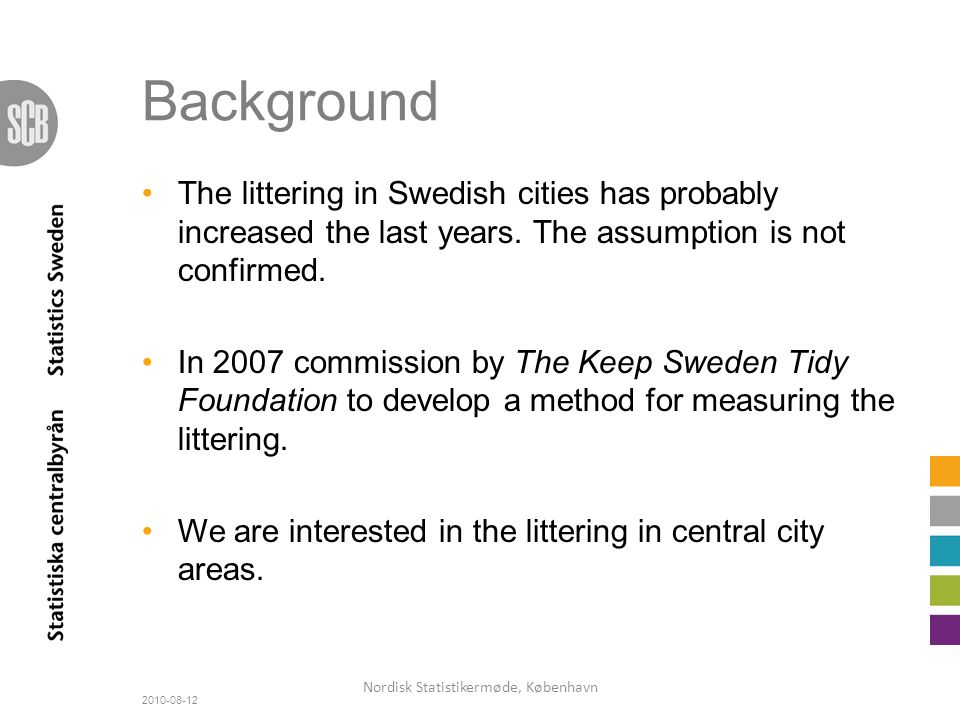 Background The littering in Swedish cities has probably increased the last years.