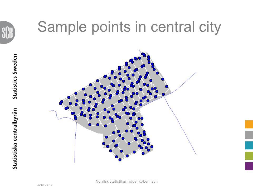 Sample points in central city 2010-08-12 Nordisk Statistikermøde, København