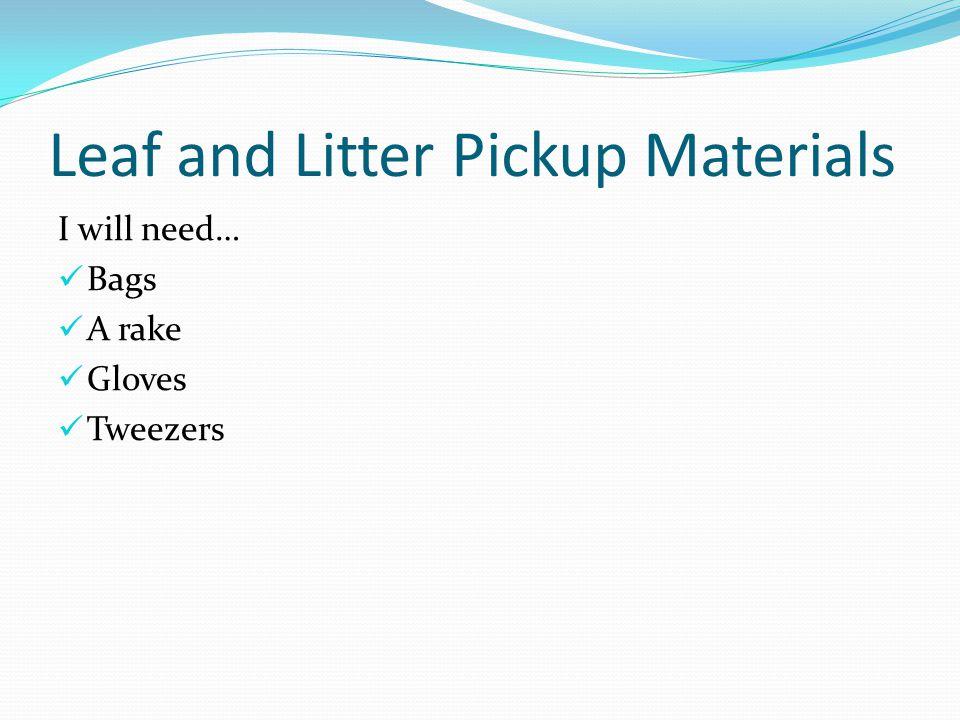 Leaf or Litter Pickup I'm also opening a leaf or litter pickup service.