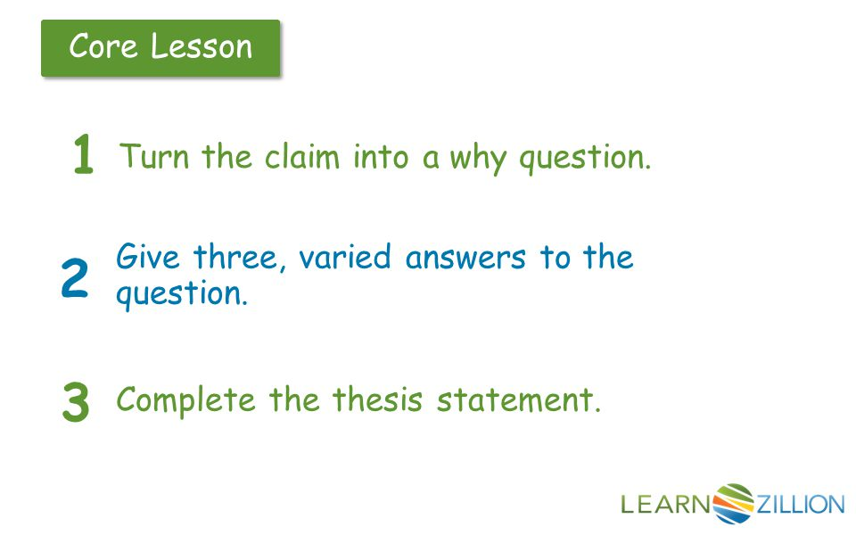 Core Lesson Turn the claim into a why question. 1 2 Give three, varied answers to the question.