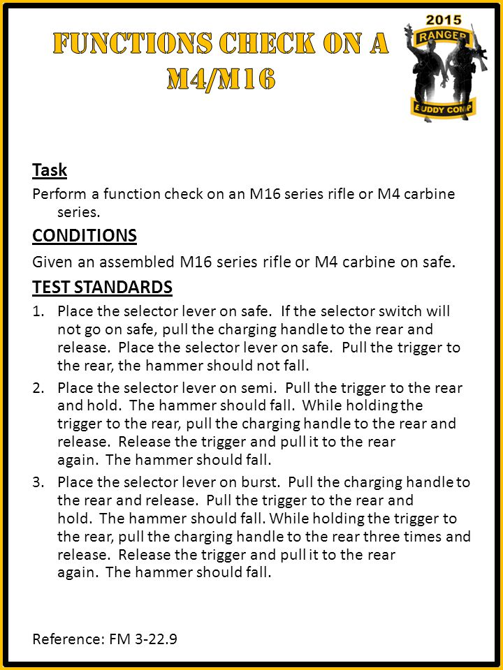 Task Perform a function check on an M16 series rifle or M4 carbine series.
