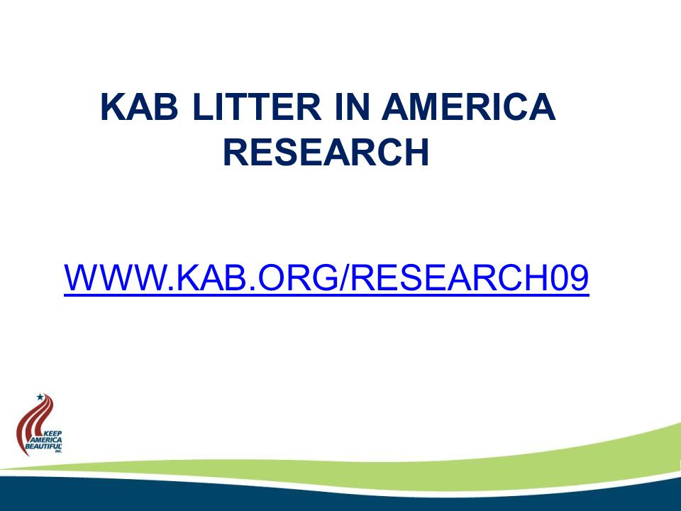 KAB LITTER IN AMERICA RESEARCH WWW.KAB.ORG/RESEARCH09