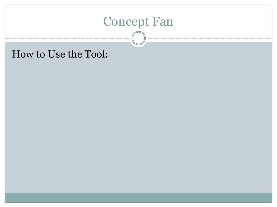Concept Fan How to Use the Tool:
